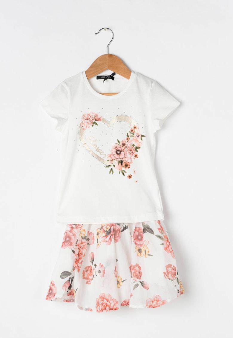Zee Lane Kids Set de tricou si fusta cu imprimeu cu trandafiri