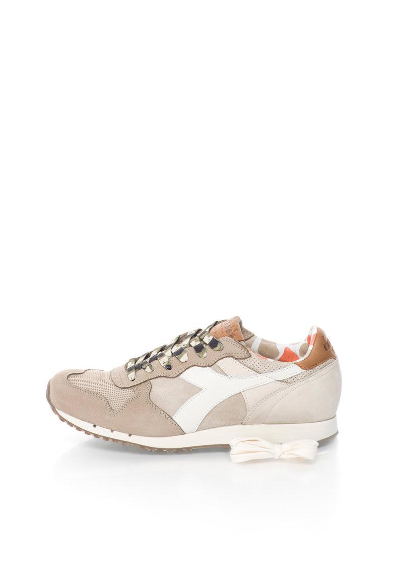 Diadora Heritage Pantofi sport bej din piele si piele intoarsa Trident
