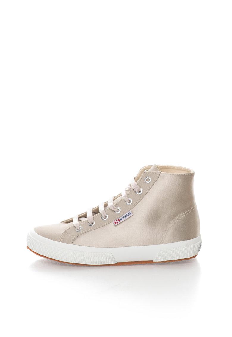 Pantofi sport inalti bej din satin si panza