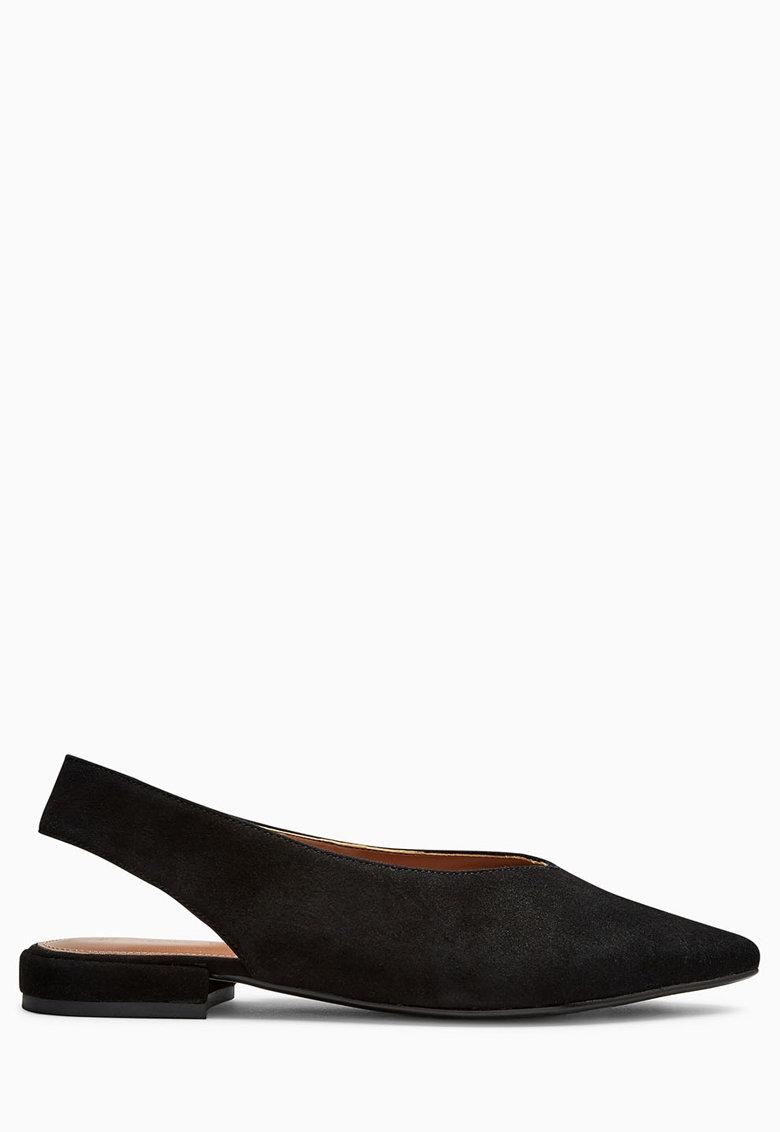 NEXT Pantofi slingback negri din piele intoarsa cu varf ascutit
