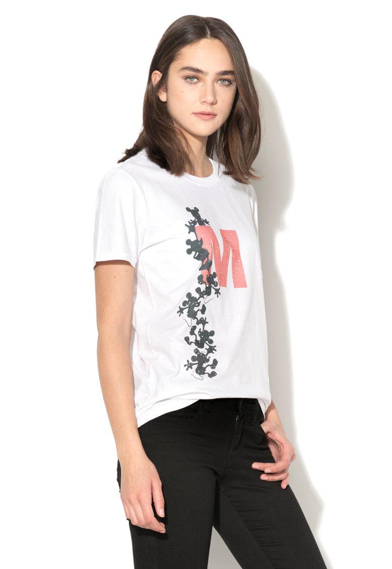 Tricou alb cu imprimeu negru si rosu Mickey