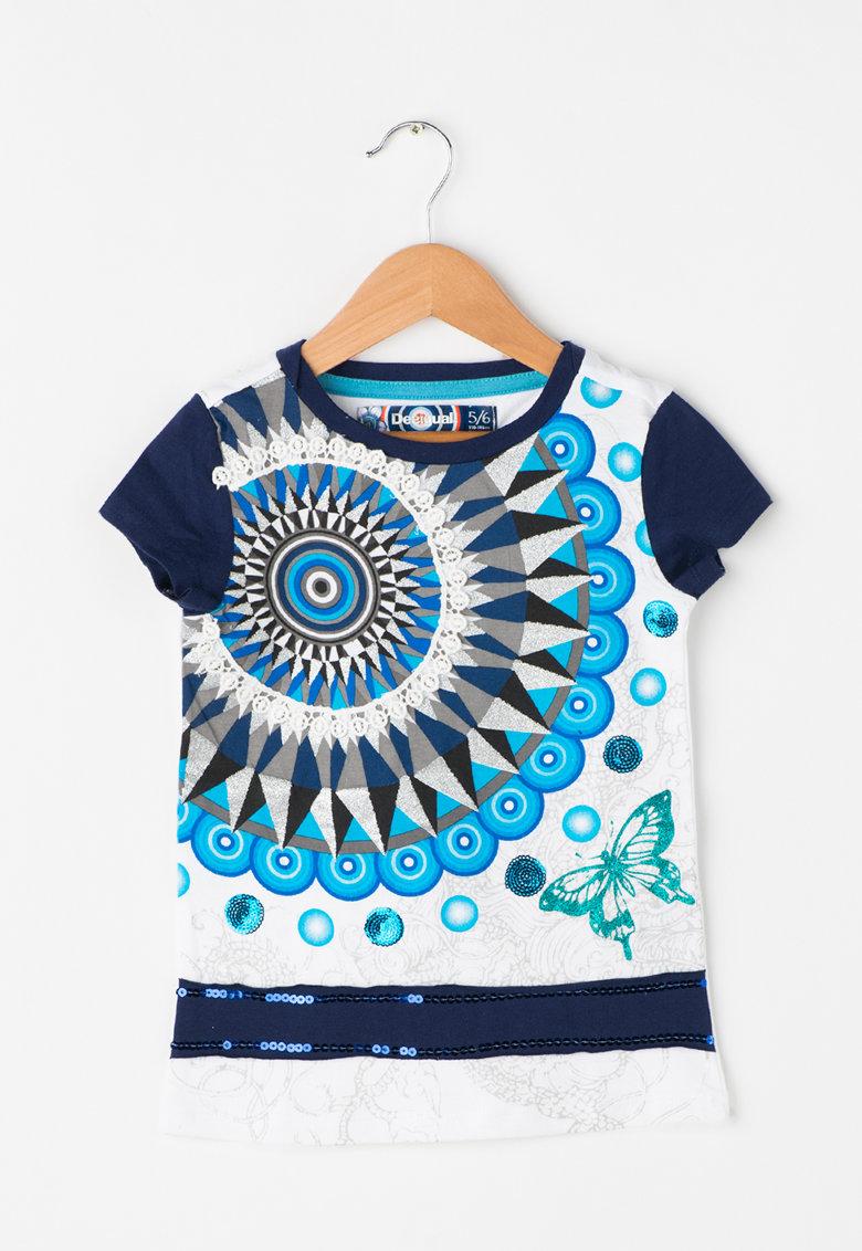 Desigual Tricou alb cu nuante de albastru Phoenix