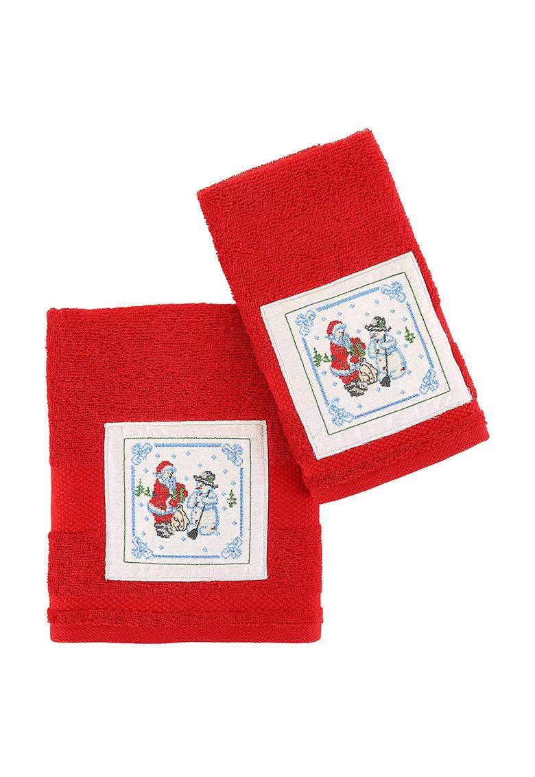 Set de prosoape rosii cu aplicatie tematica – 2 piese de la Leunelle