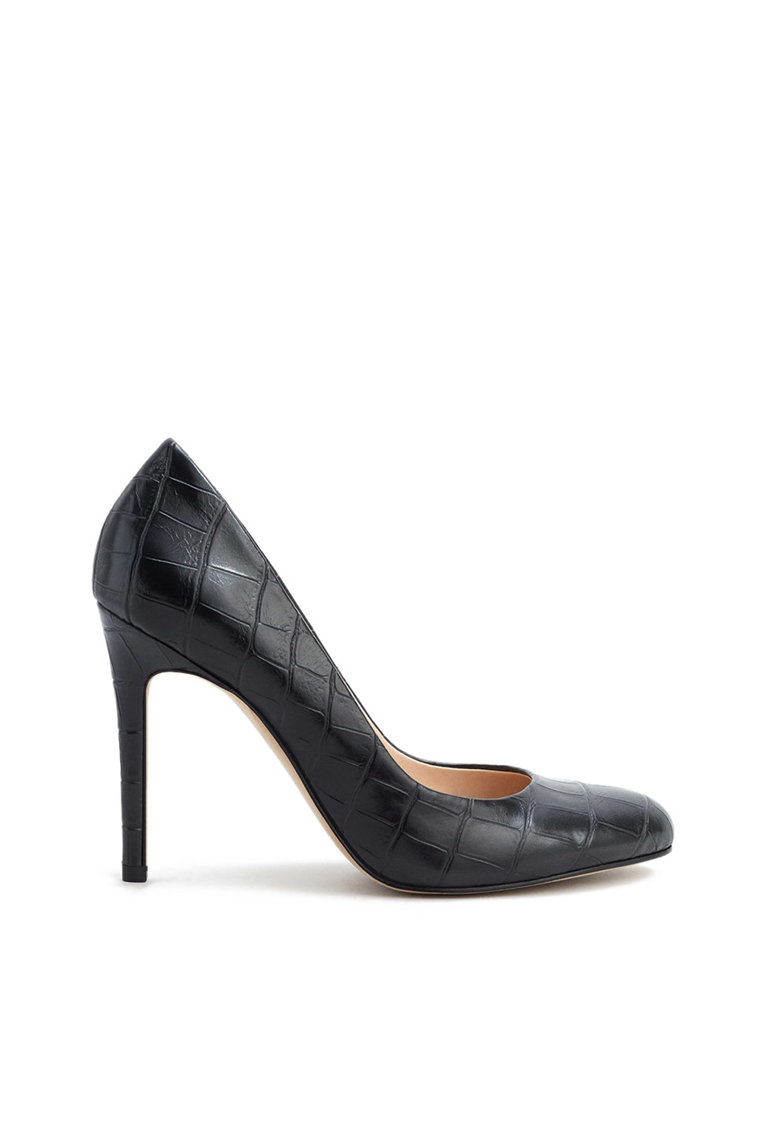 Pantofi stiletto negri de piele sintetica Rosa