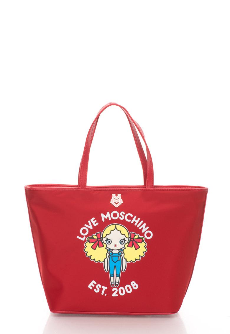 Love Moschino Geanta shopper rosie cu imprimeu