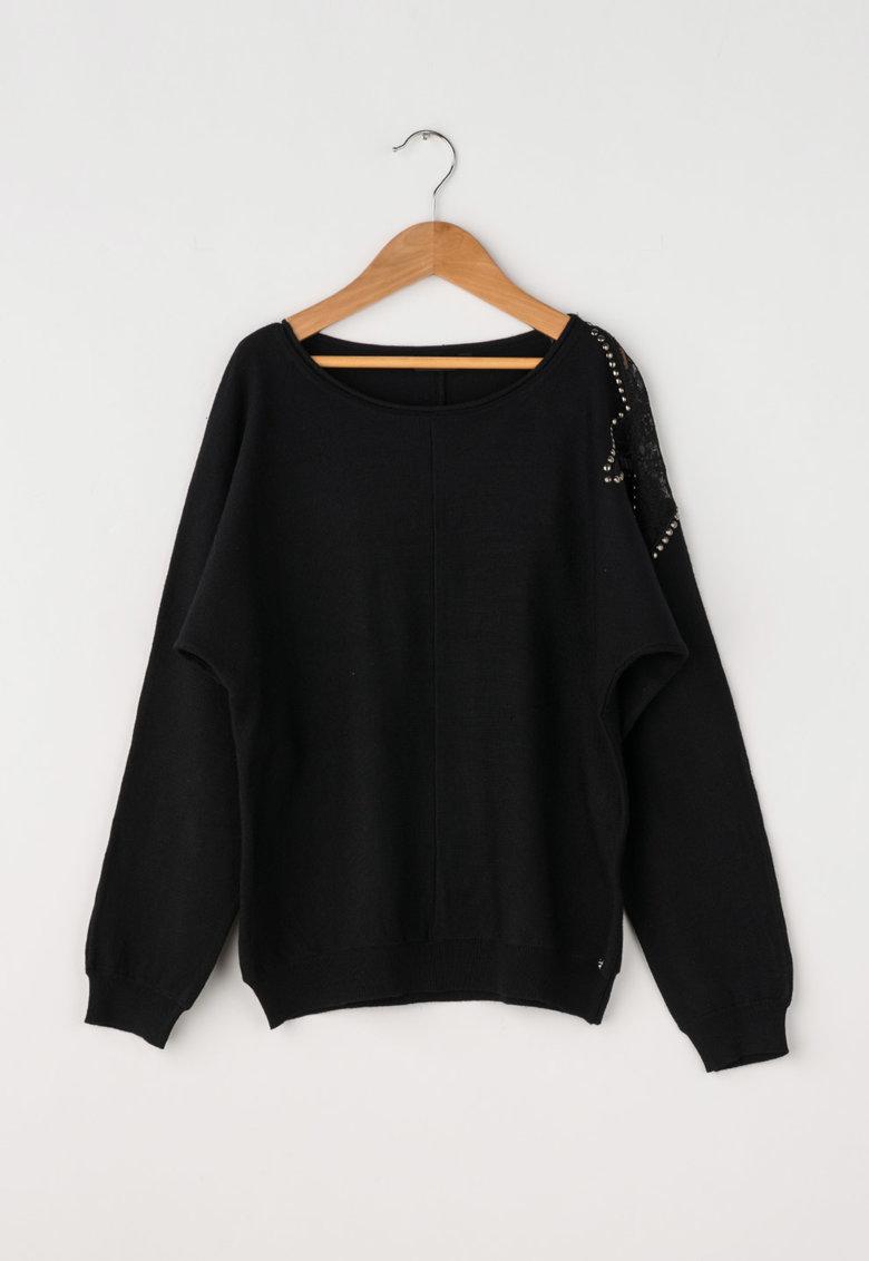 GUESS JEANS Pulover negru tricotat fin cu detaliu din dantela