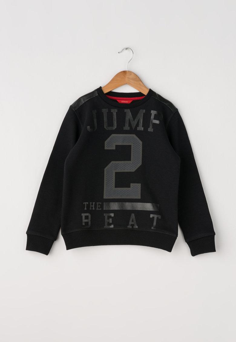 Bluza sport neagra cu insertie de piele sintetica de la GUESS JEANS