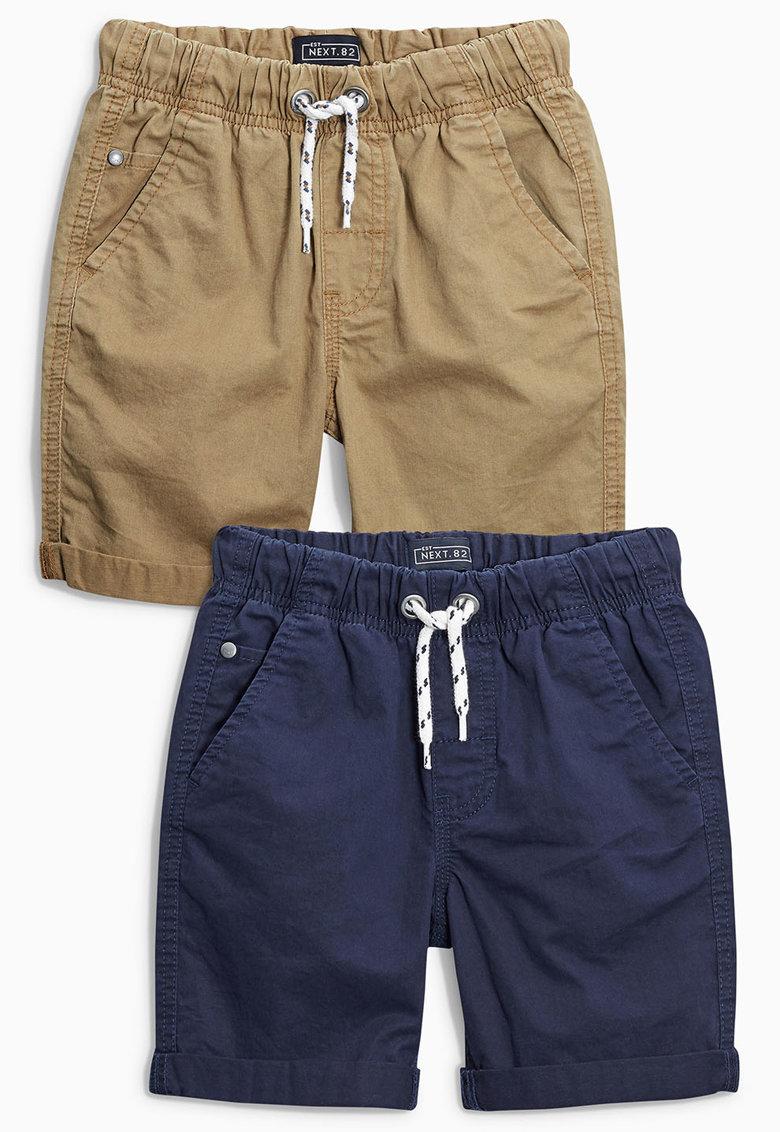 Set de pantaloni scurti bleumarin cu maro nisip - 2 perechi