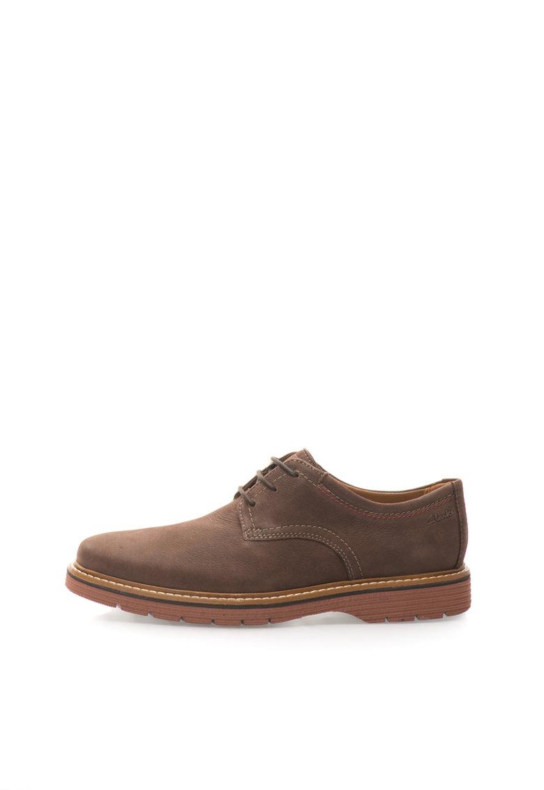 Clarks Pantofi Derby maro inchis de piele nabuc Newkirk