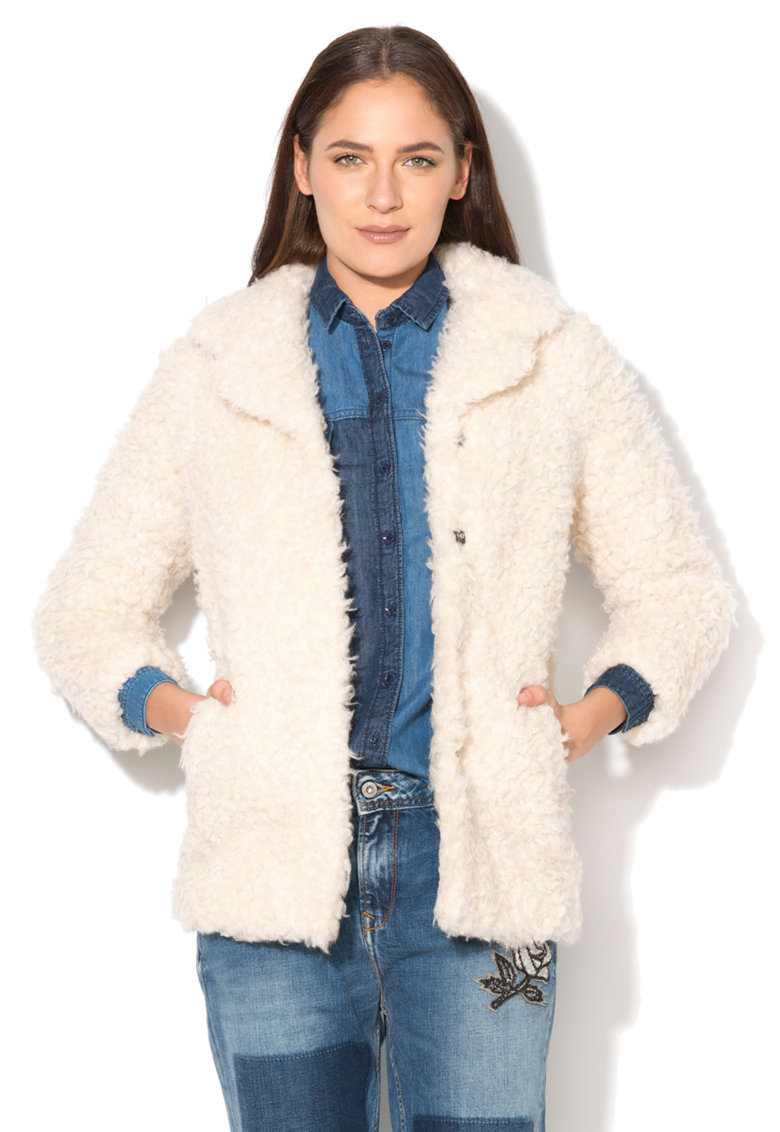Pepe Jeans London Haina scurta crem de teddy Fen