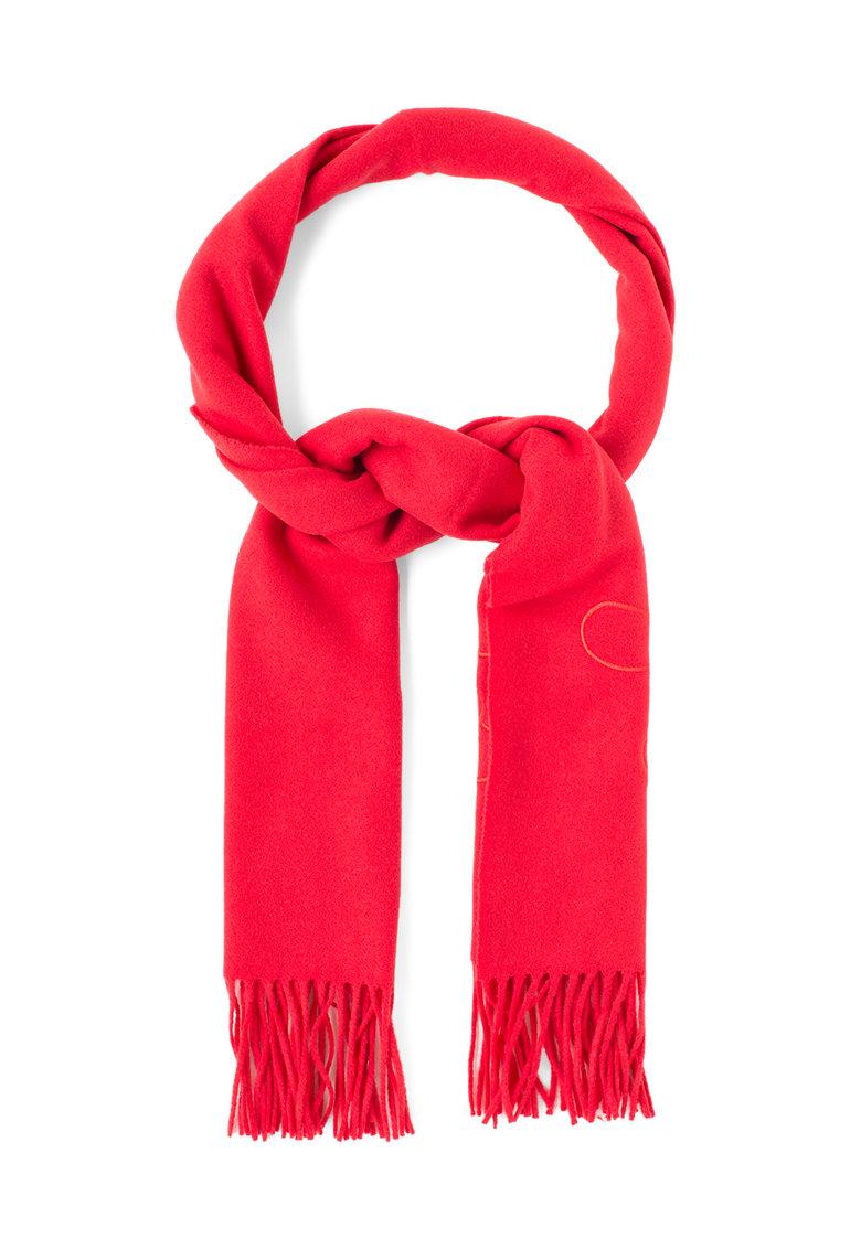 Moschino Cheap and Chic Fular rosu de lana cu franjuri