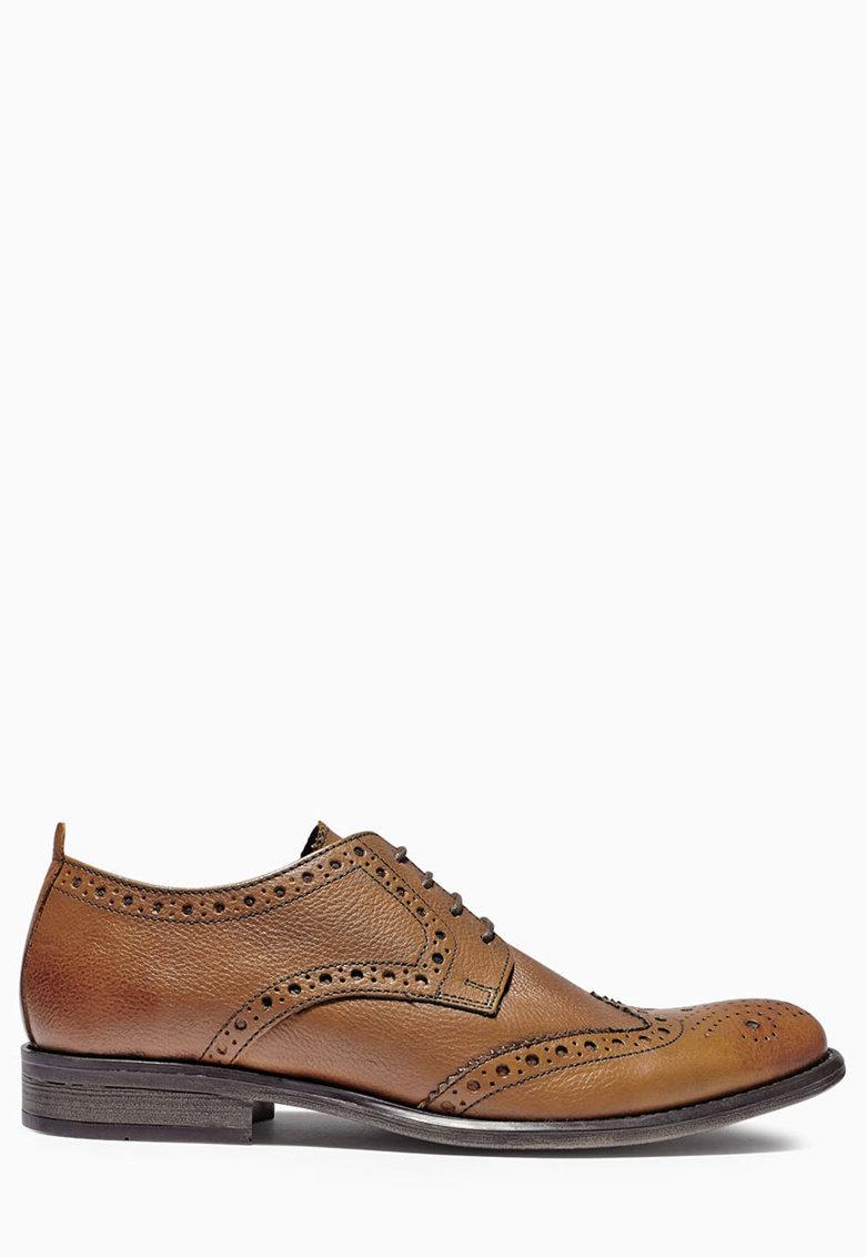 NEXT Pantofi brogue maro de piele
