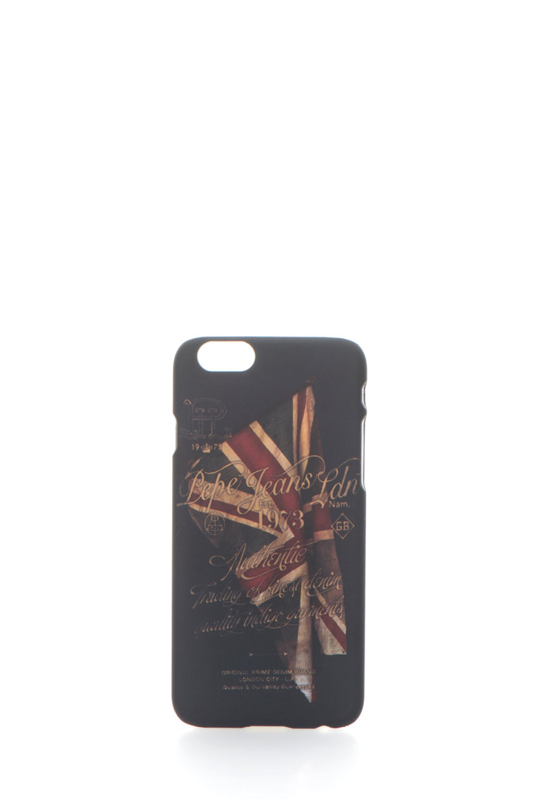 Pepe Jeans London Carcasa neagra cu model steag pentru iPhone 6/6S