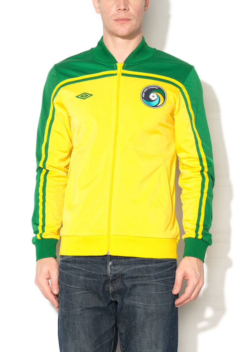 Umbro Bluza sport galben cu verde si fermoar
