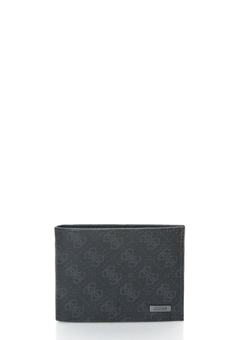 GUESS Portofel negru pliabil cu imprimeu logo