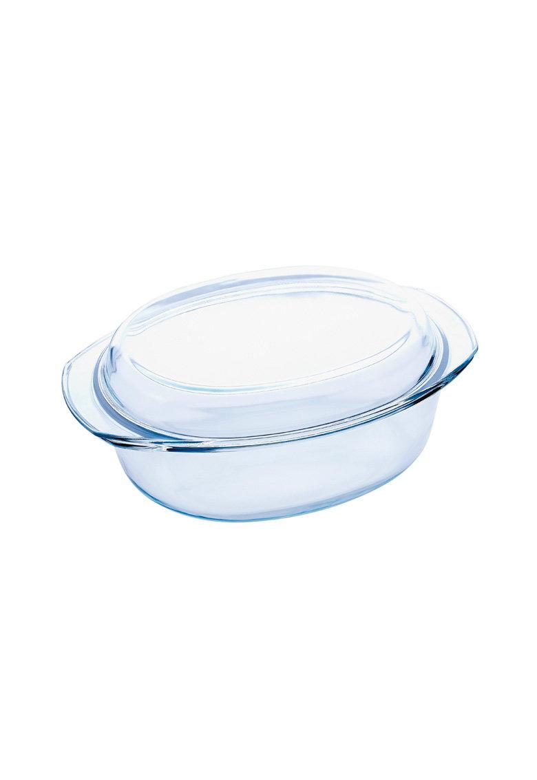 Caserola ovala din sticla cu capac