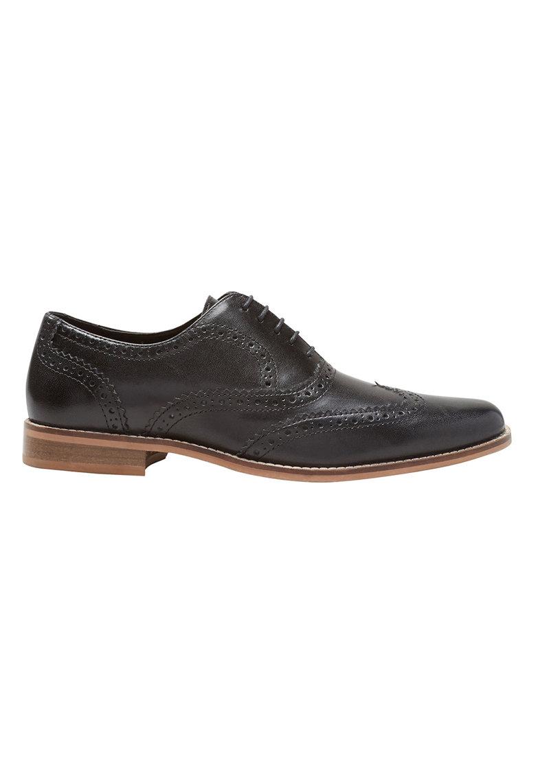 Pantofi brogue negri de piele
