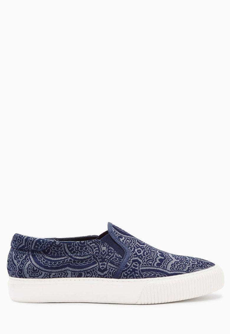 Pantofi slip-on in doua nuante de albastru