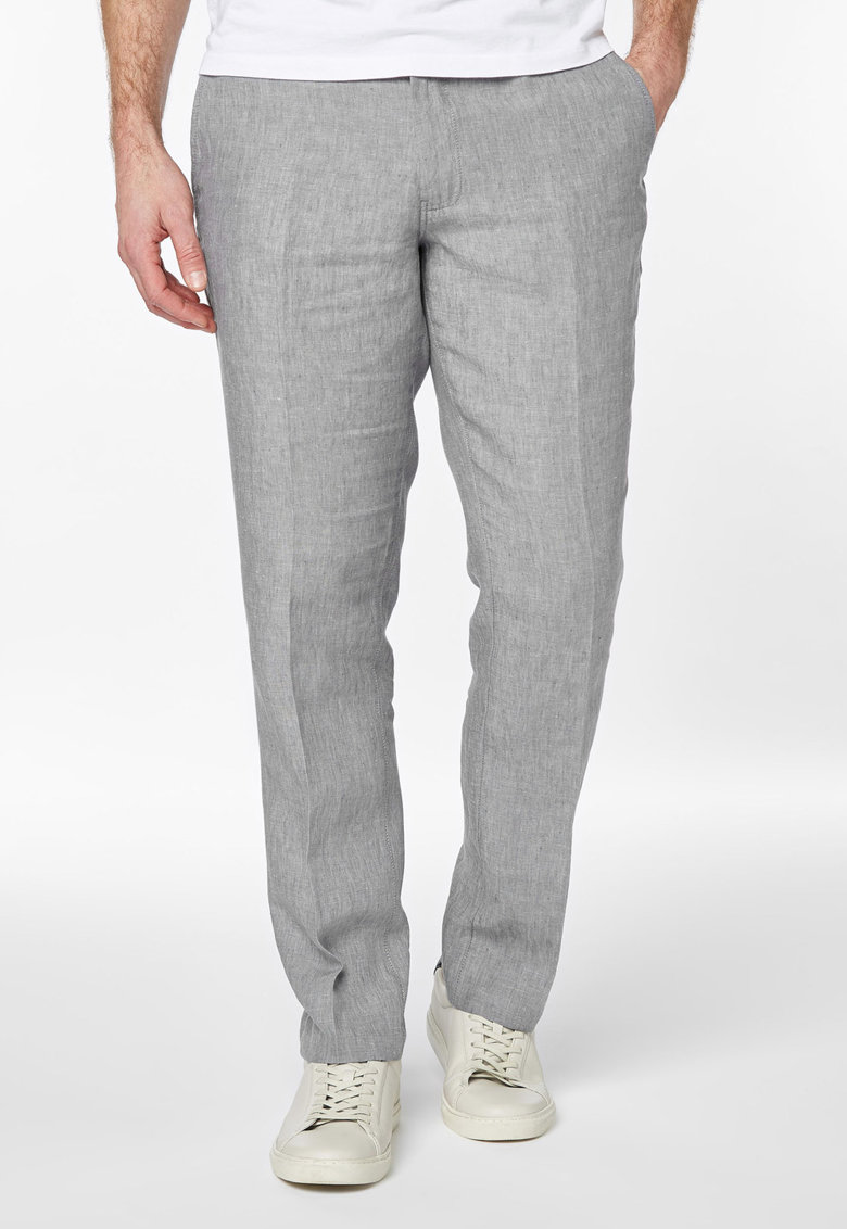 Pantaloni gri deschis melange din in