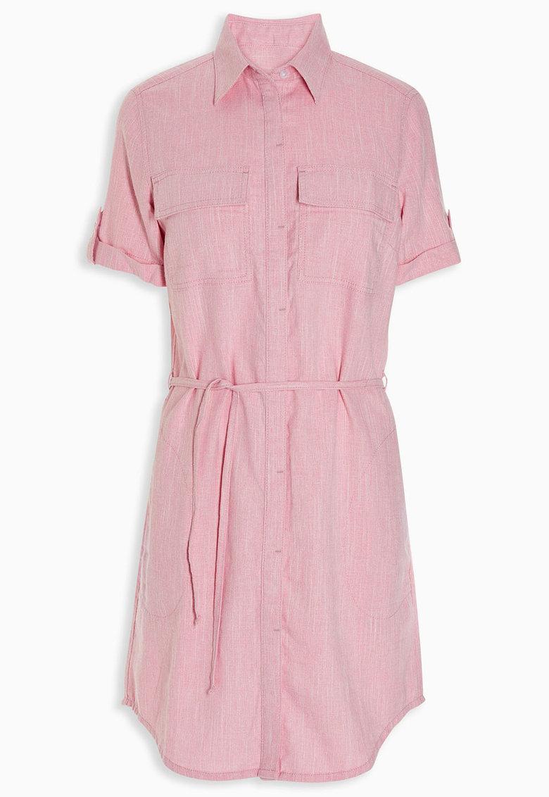 NEXT Rochie tip camasa roz deschis din amestec de in