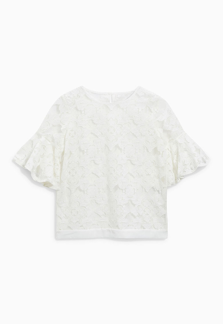 NEXT Bluza alb prafuit din dantela cu maneci evazate