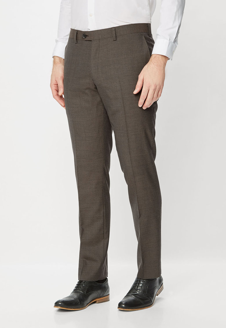 NEXT Pantaloni eleganti maro taupe din lana