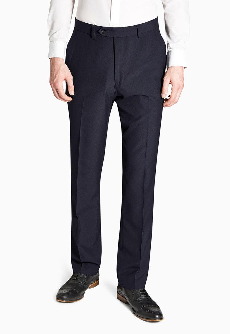 Pantaloni eleganti slim fit bleumarin inchis de la NEXT