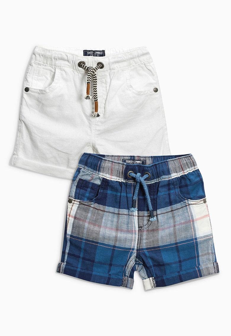 NEXT Set de pantaloni scurti alb cu nuante de albastru – 2 perechi