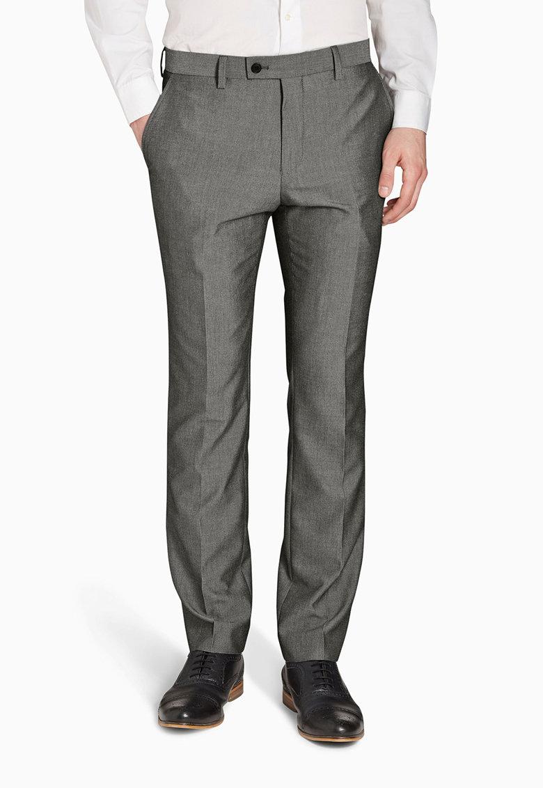 Pantaloni eleganti slim fit gri deschis NEXT