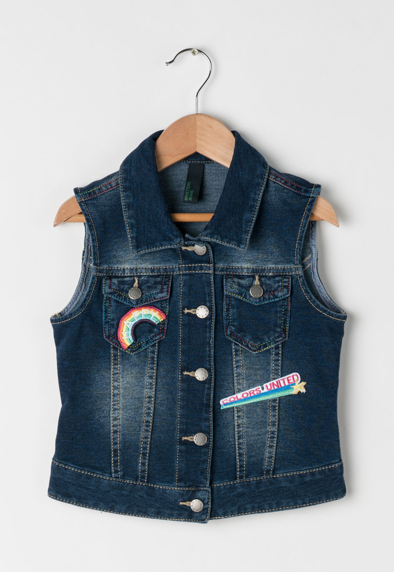 United Colors Of Benetton Vesta albastru inchis cu aspect de denim