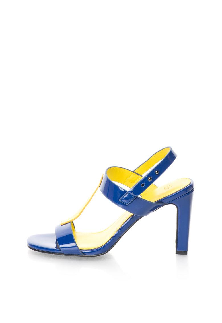 United Colors Of Benetton Sandale albastru cu galben cu aspect lacuit si toc inalt