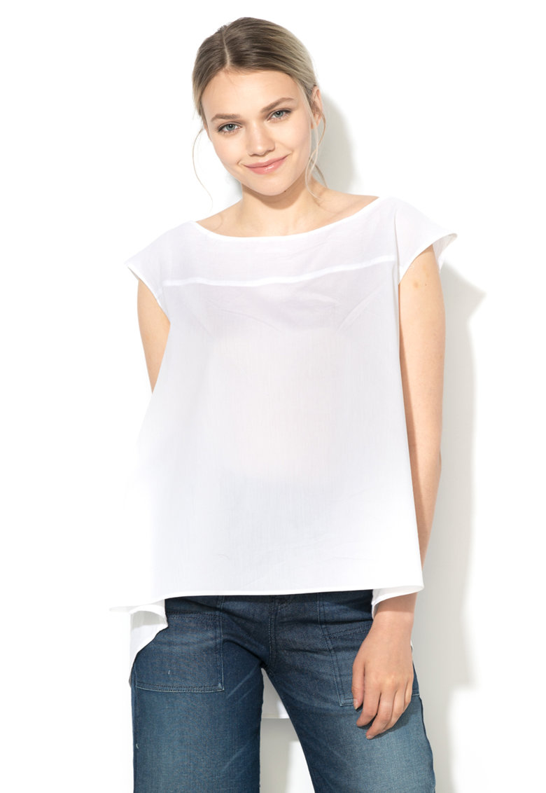 Bluza alba lejera asimetrica
