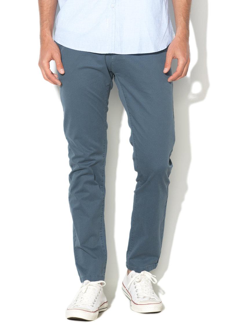 Pantaloni chino albastri cu model grafic discret