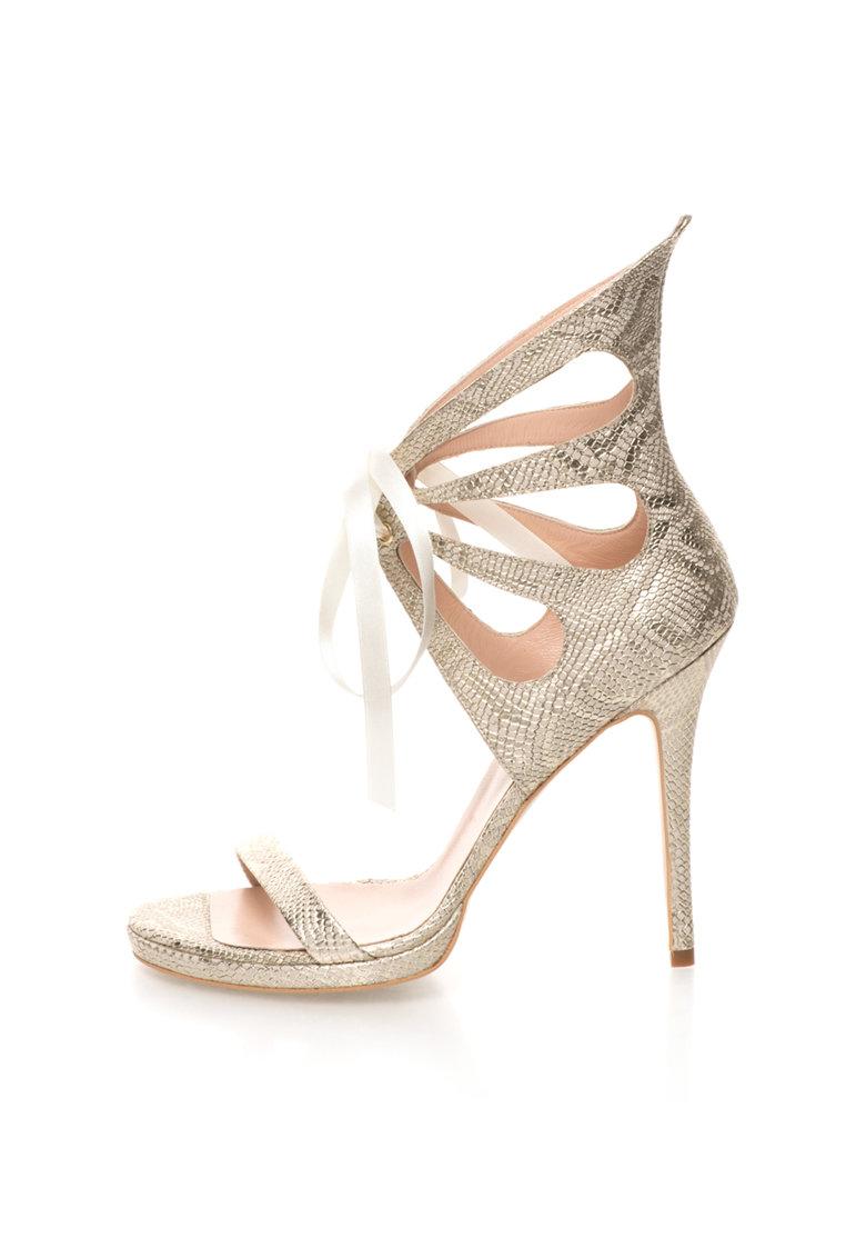 Sandale stiletto de piele auriu deschis cu model reptila