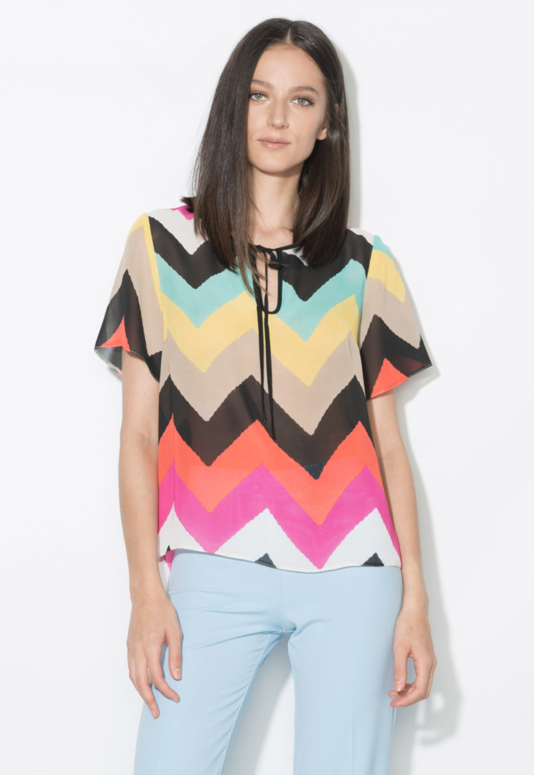 Bluza multicolora cu imprimeu si croiala lejera Zee Lane Collection