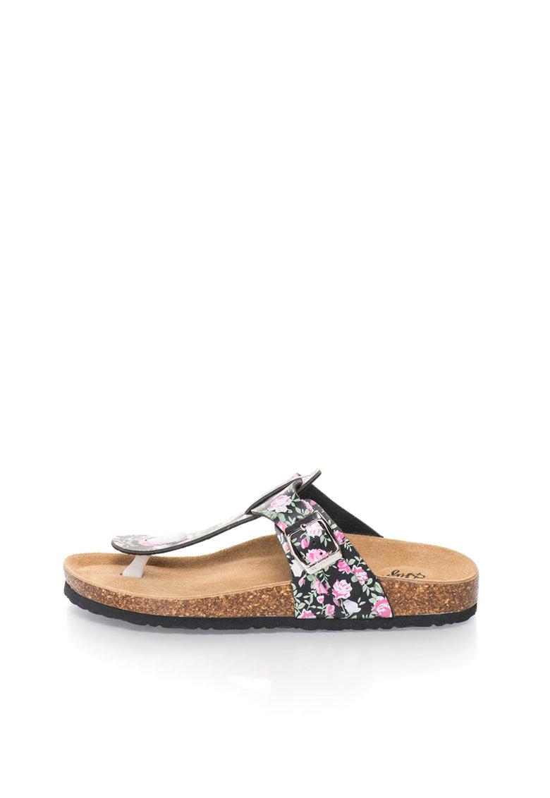 Australian Papuci negru si roz cu bareta in T si model floral