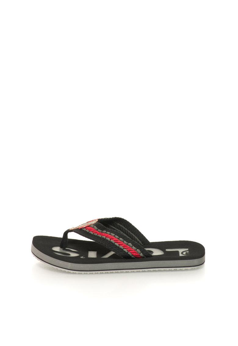 Papuci flip-flop negru cu rosu de la Levis
