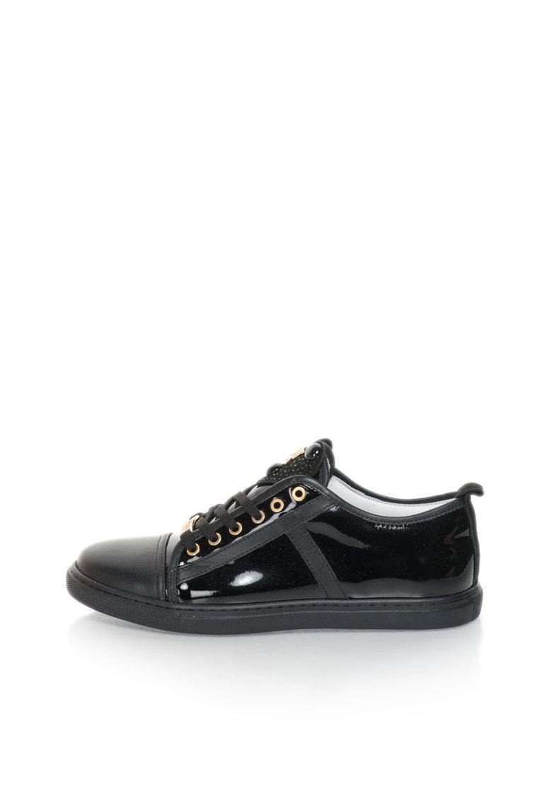 John Galliano Pantofi sport negri de piele si piele lacuita