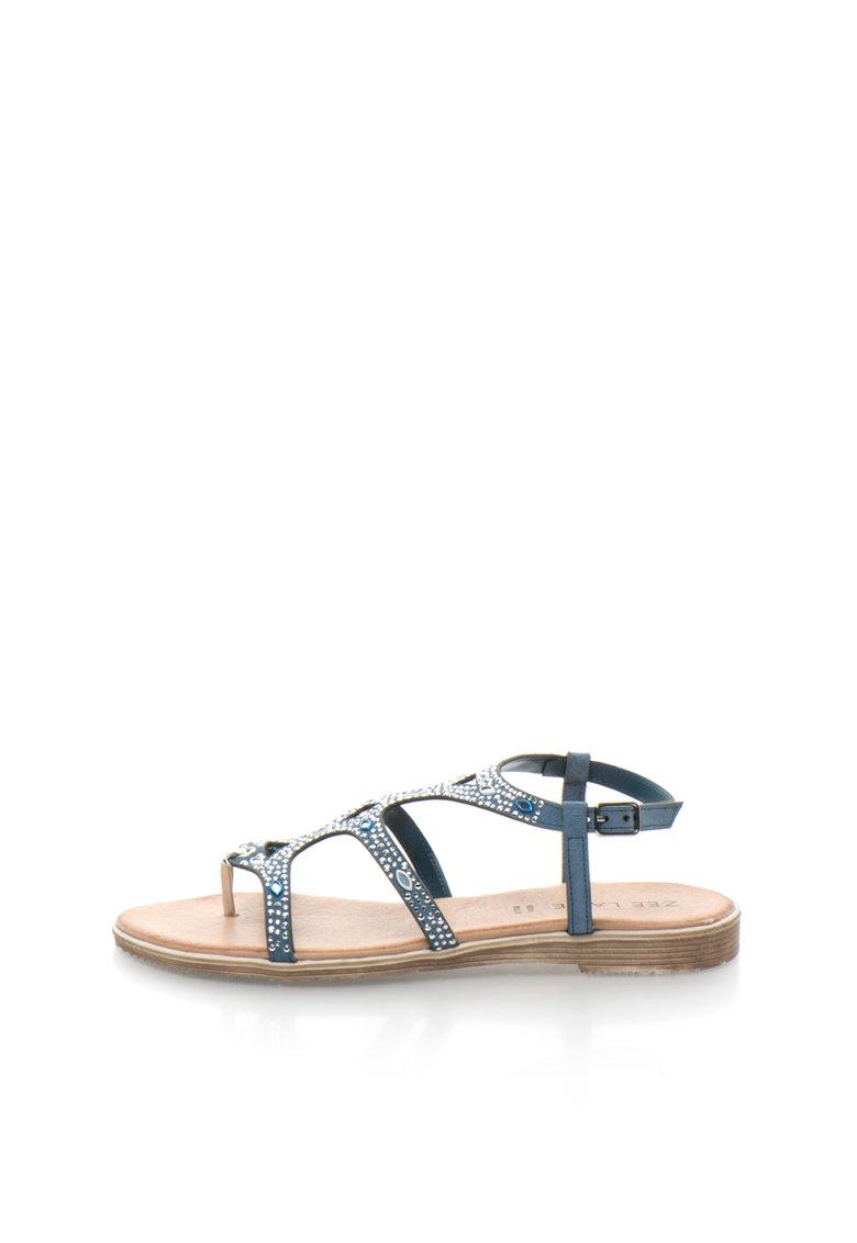 Sandale de piele intoarsa cu toc plat si strasuri