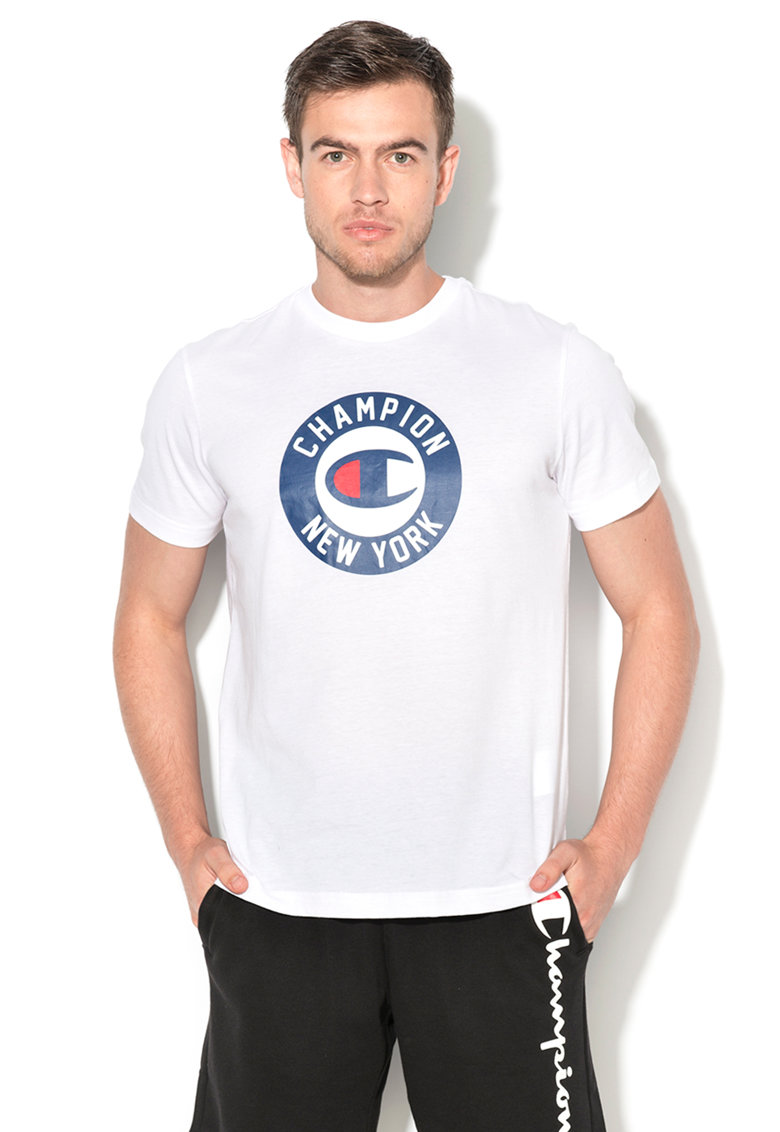 Champion Tricou easy fit alb cu imprimeu text