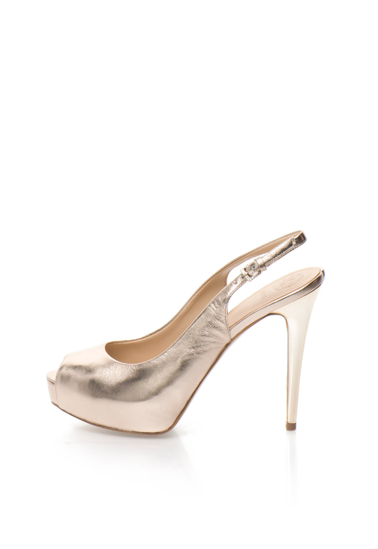 Guess Pantofi slingback aurii de piele cu varf decupat si platforma