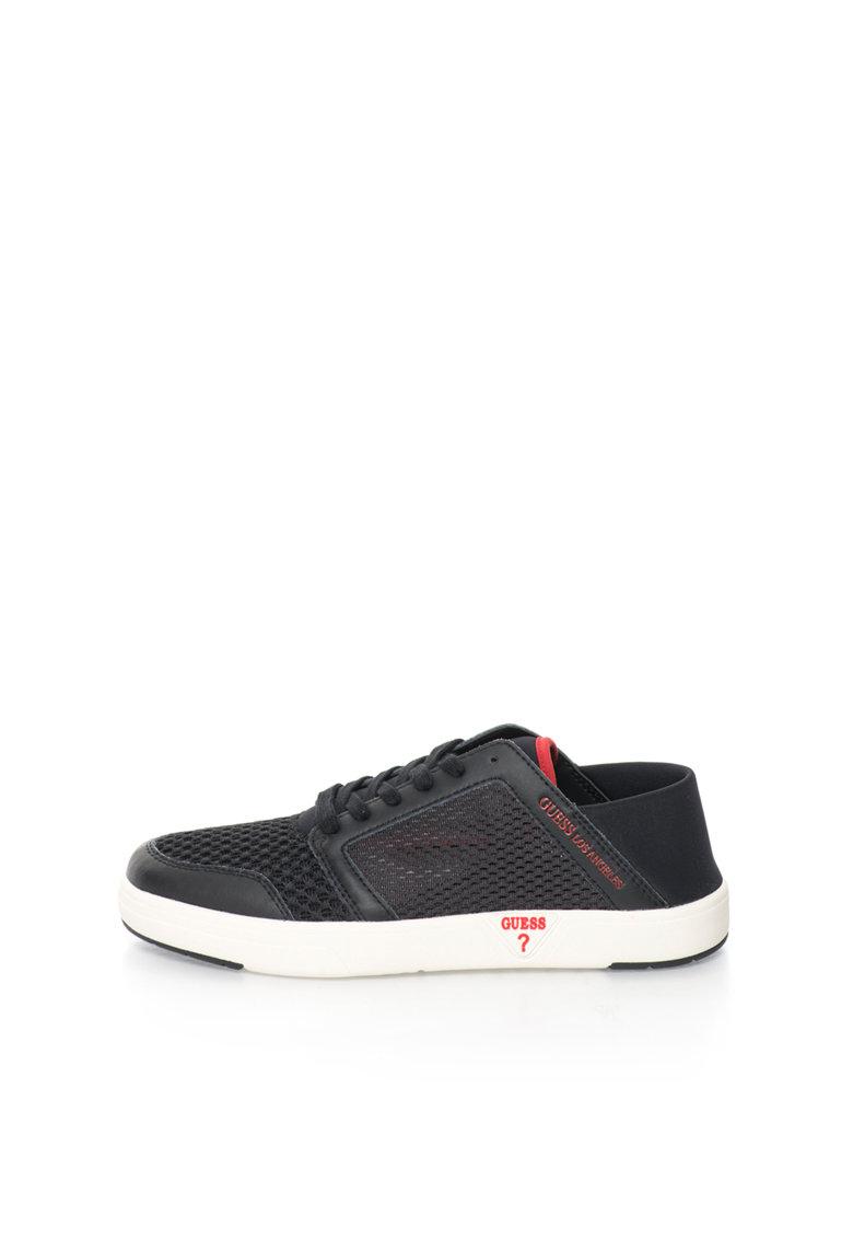 GUESS Pantofi sport negri cu segmente de plasa