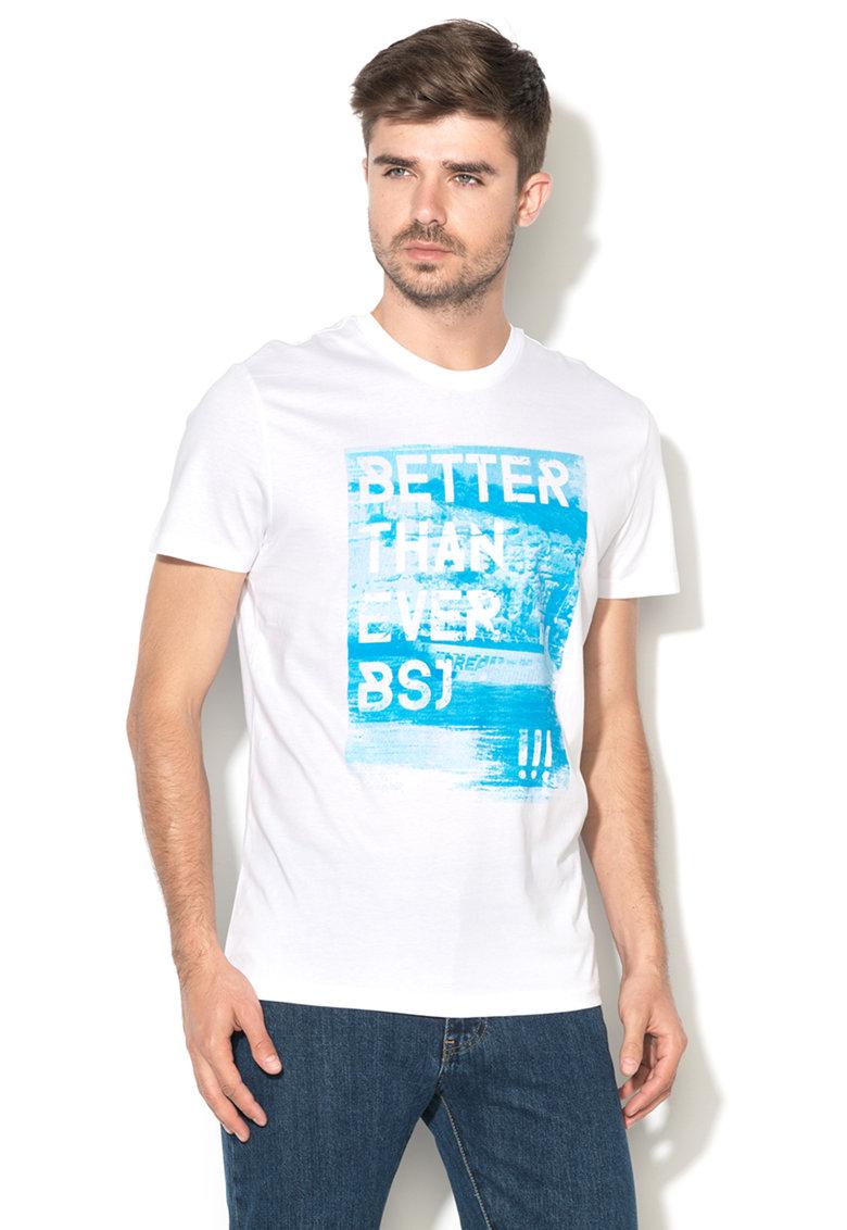 Big Star Tricou alb si albastru cu imprimeu text August