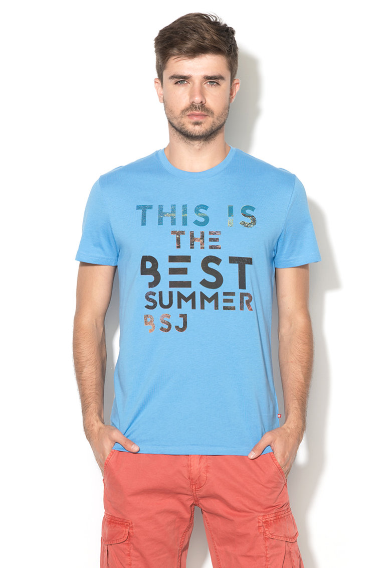 Big Star Tricou bleu cu imprimeu text Lake
