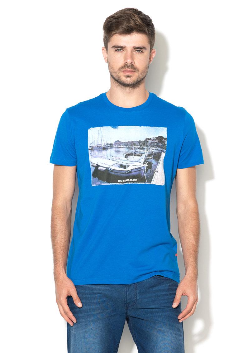Tricou albastru ultramarin cu imprimeu foto Yah