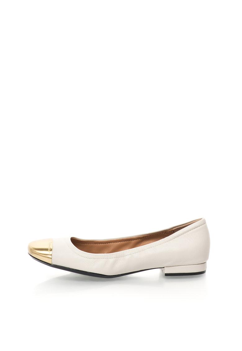 Calvin Klein Balerini ecru cu auriu de piele Fiana