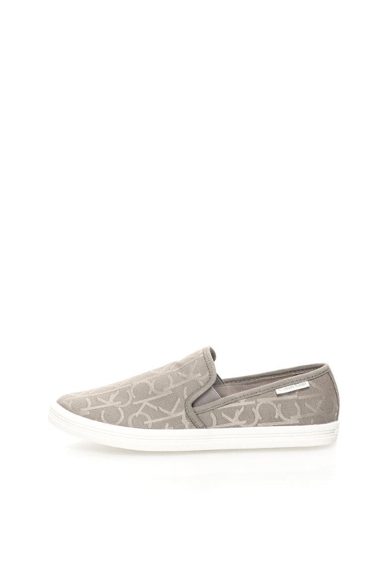 Pantofi slip-on gri cu model logo Marren