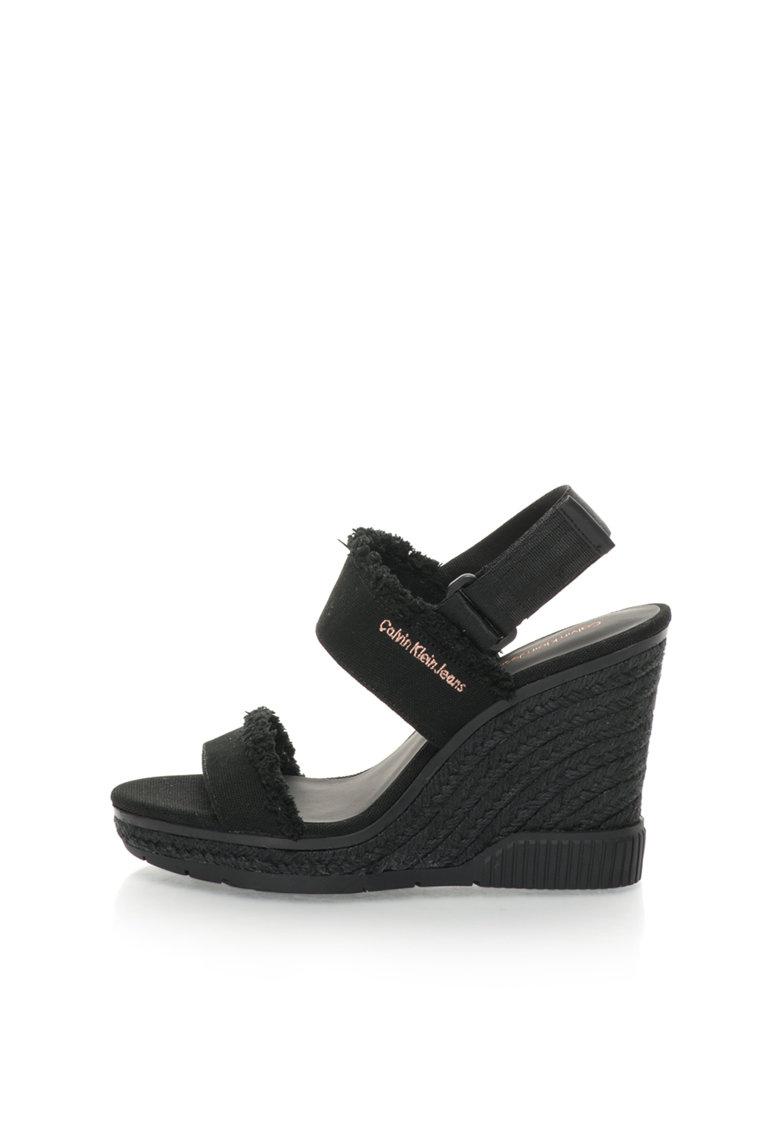 Calvin Klein Jeans Sandale wedge tip espadrile negre Lael