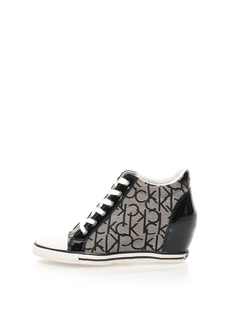 Calvin Klein Jeans Pantofi sport gri si negru cu platforma wedge ascunsa Vero