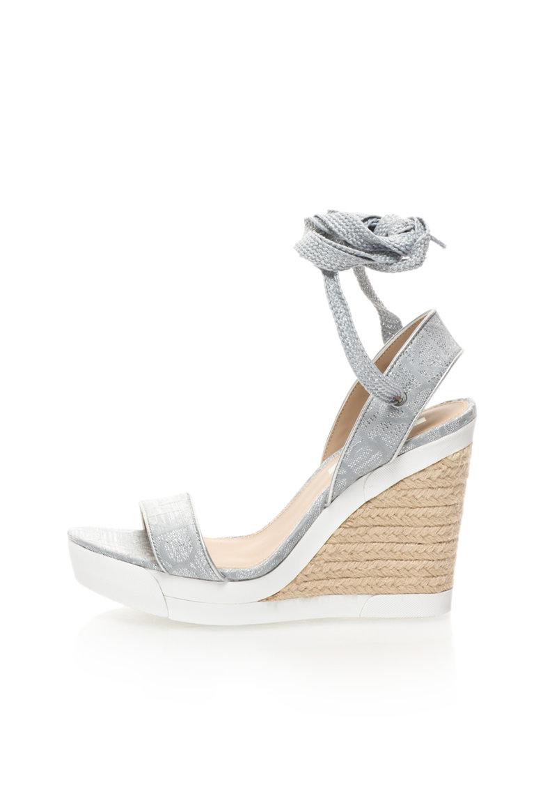 Calvin Klein Jeans Sandale wedge gri si argintiu cu siret Eleanor